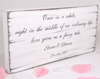 Personalised - Fairy tale - Custom Free Standing White Wedding Table Sign / Plaque - Shabby but Chic -Aged - Handmade