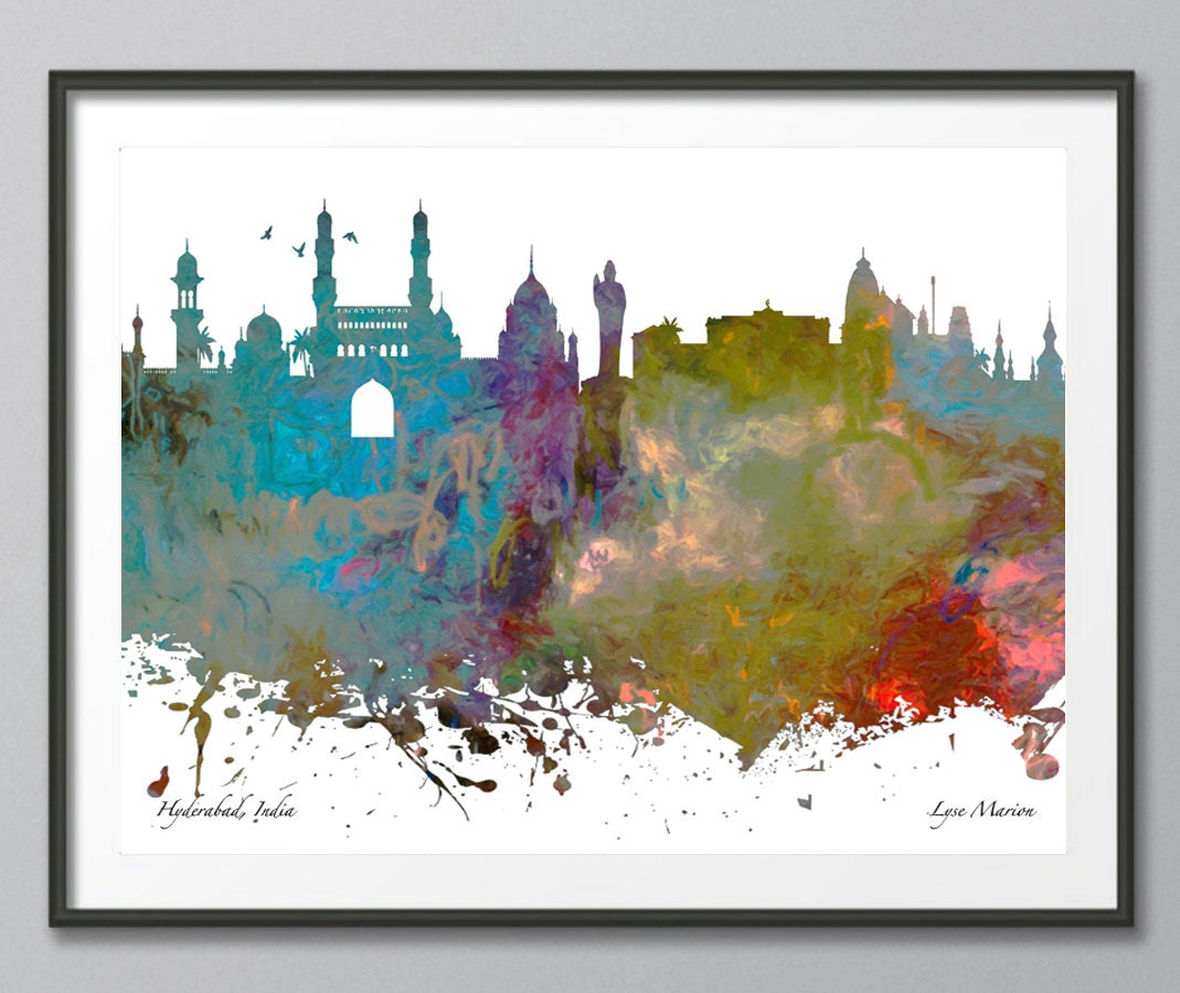 Hyderabad hyderabad skyline india architecture print for Modern art prints posters