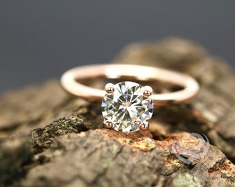 FOREVER ONE D-F Color Moissanite Certified 7mm/1.25 Carats Round Cut 14K Rose Gold Solitaire Engagement Ring (Bridal Wedding Set Available)