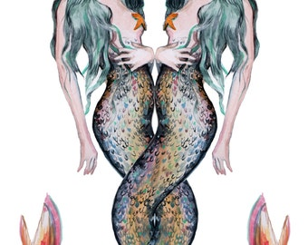 Gemini Mermaids A3 Illustrated Print