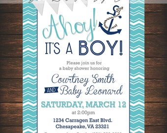 Ahoy, Nautical, Boy, Baby Boy, Babyshower, Blue, Red, Sea, Birthday, It's a boy, Nautical theme, Invite