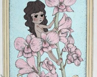 SALE ~ aquarius flower fairy ~ original A4 painting