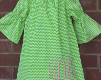 Monogrammed dress / Peasant dress / boutique dress