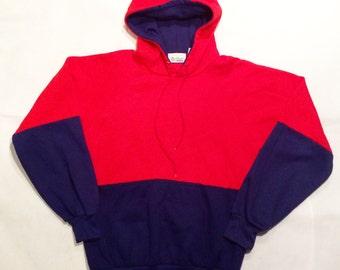 Vintage blue red hoodie sweater mens medium 90s