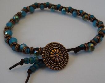 Blue and Copper Illusion Bracelet