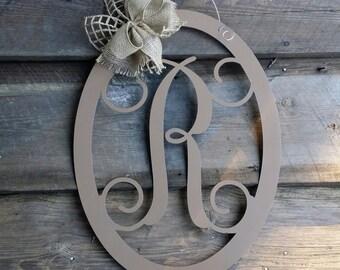 Door Hanger - Personalized Door Hanger - Painted Wooden Letter - Door Hanger - Wreath