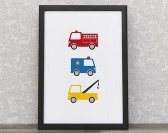 Childrens Decor | Rescue Trucks | Kids Art Prints | Interior Playroom | Fire Truck | Tow Truck | Police Car | Emergency Trucks | Colorful