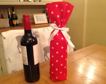 Wine Bottle bag in red and white spot fabric, wine bottle gift bag, wine tote