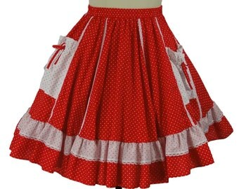 "Vtg. Malco Modes ""Partners Please"" Rockabilly Squaredance Red and White Circle Skirt Size S"