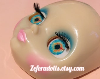 Realistic Blue And Orange Soft Resin Eye Chips For Blythe (14 mm)