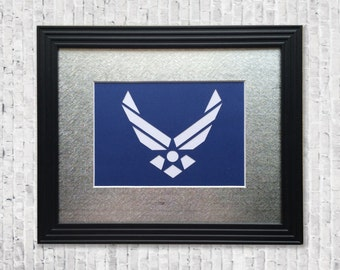 Handcut AirForce Wall Decor - Airforce Service Art, Military Gift, AirForce Decor, Armed Forces Modern Wall Art - 8 x 10