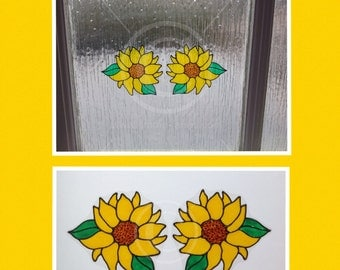 Sunflower window clings, hand painted for glass & window areas, reusable faux stained glass effect decal, static cling suncatcher decals