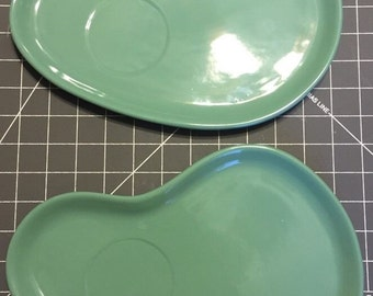 Two (2) Vintage Green OGGI Snack Plates