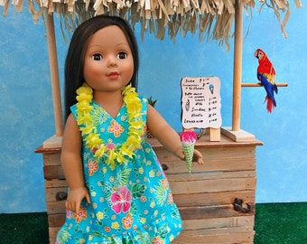 Hawaiian Print Dress with Lei - 18 inch Doll Clothes