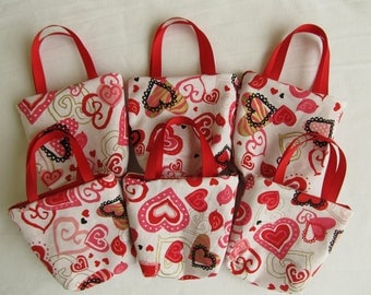 Set of 6 Valentine's Day Fabric Gift Bags/ Party Favor Bags/ Valentine Goody Bags- Red Hearts on White