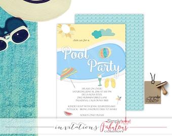 Pool Party Invitation - Adult Pool Party Invitation - Summer Fun Invitation - Summer Birthday Party Invitation - Luau - BBQ DIGITAL FILE