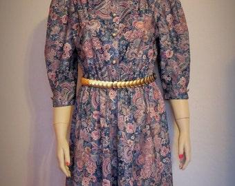 Vintage 60's California Looks Floral Paisley Print Day Dress Size 8 Petite
