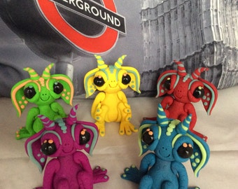 Alien Trolls, glow in the dark, hand sculpted from polymer clay, 5 colours available