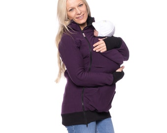 Sporty belly to baby hoodie, maternity hoodie, 3in1 baby carrier jacket, maternity apparel, pregnancy, sweatshirt jumper, plum, FERIS