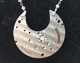 Vintage Pocket Watch Plate Necklace with Moonstone