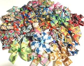 Disney hair bows, disney hair clip, Hair Bows For Girls Lot of 10 Hair bows- girls HairBows- Disney HairBows