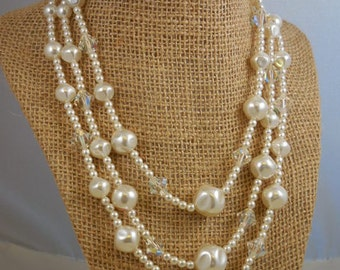 Vintage Bridal Pearl Aurora Borealis Crystal Beaded Necklace