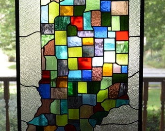 Stained glass panel, Indiana counties map, Hoosier state 17 x 25