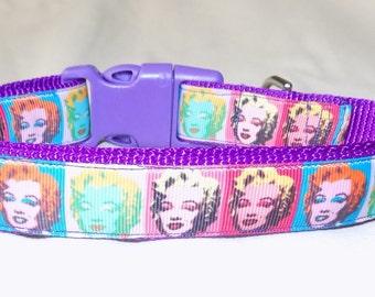 Marilyn Monroe Dog Collar, Andy Warhol Dog Collar, Purple Dog Collar, Rainbow Dog Collar