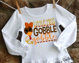 Little Miss Gobble Gobble shirt, Thanksgiving shirt, fall shirt, girls fall shirt, girls thanksgiving shirt, turkey shirt, turkey day shirt