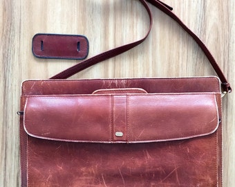 Vintage Oroton tan leather briefcase