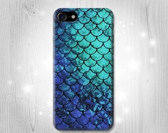Blue Sea Mermaid Fish Scale Case iPhone 7 Plus 6 5 4 Samsung Galaxy S8 S8+ S7 Edge S6 S5 Note A7 J7 J3 Htc 10 Asus Google Pixel HTC