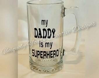 My Daddy is My Superhero , Dad Beer Mug, Personalized Gift, Glass Beer Mug Stein, Gifts for Men, Father's Day Gift, Grandpa Gifts,