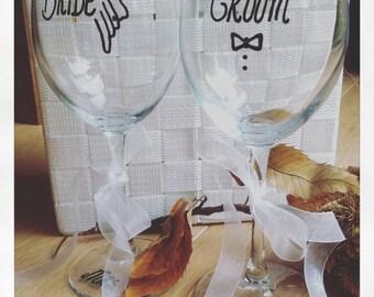 """wine glasses set """"Bride & Groom"""""""