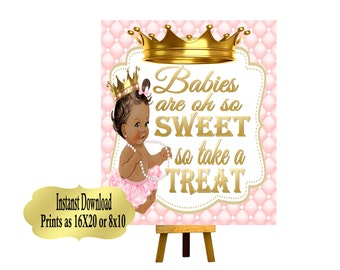 PRINTABLE Princess Baby Shower Candy Buffet Sign Prints 16X20 or 8X10, Princess Baby Shower Decor, Babies are Sweet, Take a Treat