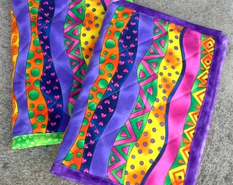 Quilted Notebook Cover - Neon colors shapes - Reuseable - Ready to Ship
