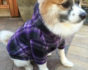 Purple Plaid Fleece Dog Hoodie, Pet Sweater for Small Breeds