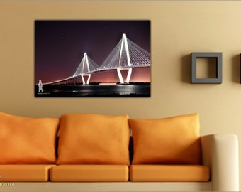 Urban Photography, Urban Landscape, Charleston Photos, Photography Prints, South Carolina Art, Wall Decor, City Landmarks, Bridge Pictures