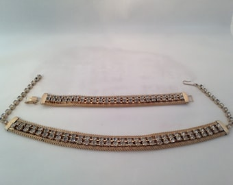 Vintage Gold Metal Mesh and Clear Rhinestone Choker Necklace and Bracelet Set 0434