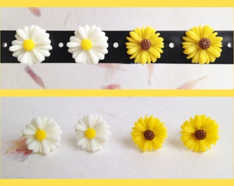 White Daisy or Yellow Sunflower Stud Earrings. Pretty Gift