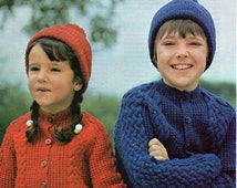 "Argyll 823 Vintage Children's Aran Knitting Pattern PDF Instant Download 24 - 32"" Cardigan and Hat, Aran weight yarn"