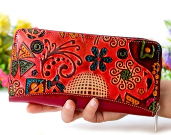 Wallet phone case, genuine leather embossed and handpainted with birds butterflys and flowers