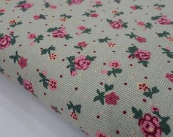 "Canvas Fabric, Cotton Canvas Fabric, Grey, Flowers Printed, 114 cm. by 45 cm. (45"" by 18""), Half Yard."