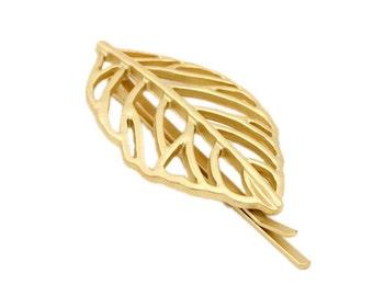 Hair Clip Leaf Gold   Woodland hair pin   Gold bobby pins