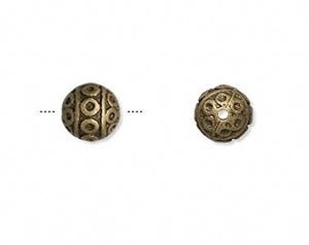 Antiqued Brass Bead, Tribal bead, Rustic, 8mm round bead, 4 each, D292