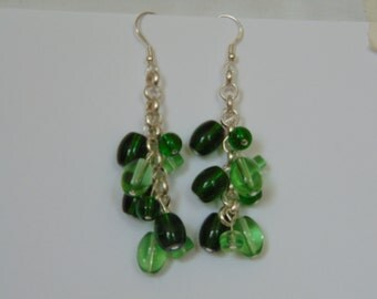 Green Glass Beaded earrings