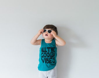 all the good vibes toddler tank top, good vibes tank, good vibes shirt, trendy baby boy clothes, hipster clothes, EVERGREEN
