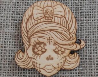 Sugar skull wooden brooch