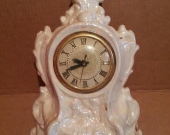 Handmade White Pearl Statue Clock with Lanshire Movement 1975