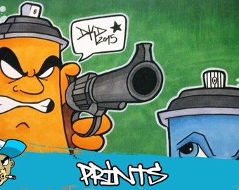 Graffiti Spraycan Character Cartoon Comic by DKDrawing 15 x 21 cm Print on glossy cardboard
