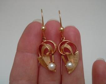 Gold Pearl Earrings, 14K Pearl Earrings, Pearl Dangle Earrings, Gold Dangle Earrings, Gold Pierced Earrings, Pearl Pierced Earrings